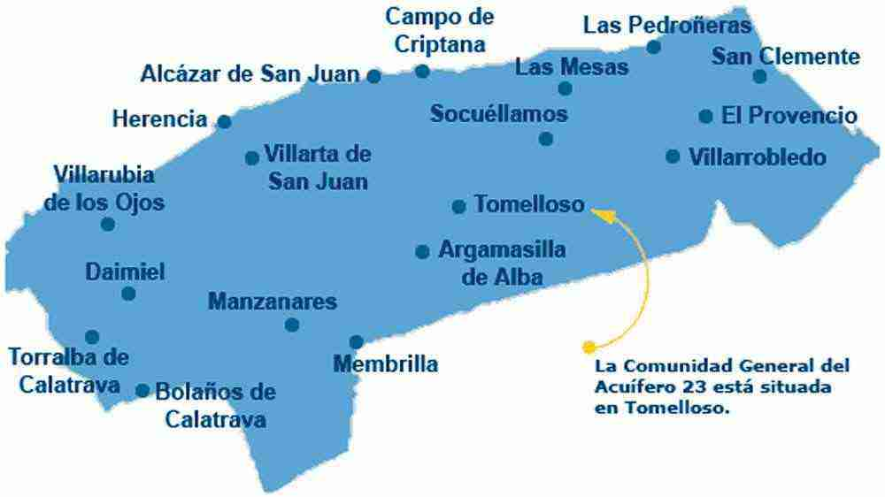 mapa de poblaciones en Acuífero 23
