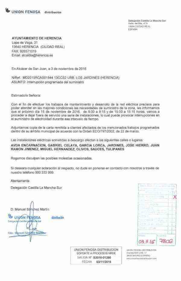 Carta de Aviso de Interrupción de Electricidad de alguna calles de Herencia.