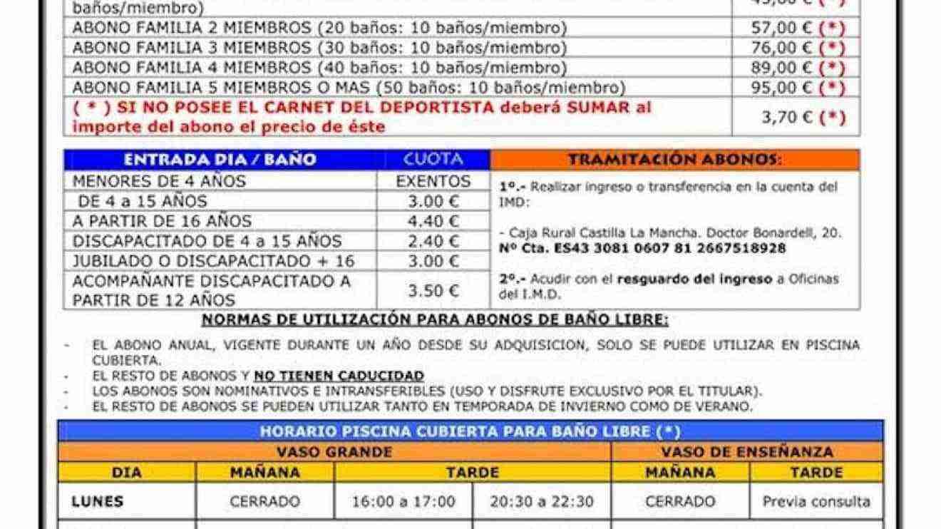 Precios y horarios de la piscina cubierta de alc zar de for Piscina cubierta madridejos